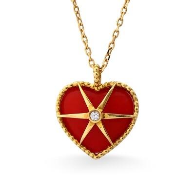 MYSTERY YELLOW GOLD PENDANT, RED ENAMEL & DIAMOND