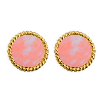 ELINA YELLOW GOLD EARRINGS & CALCITE PINK
