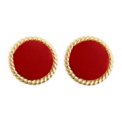 ELINA YELLOW GOLD EARRINGS & CARNELIAN RED