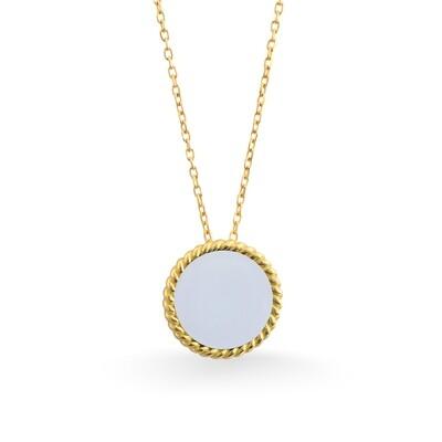 ELINA YELLOW GOLD PENDANT & WHITE AGATE