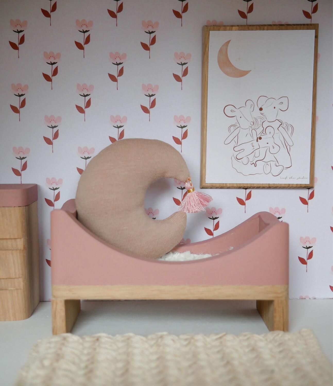 Wallpaper Dollhouse Retro Pink Flower