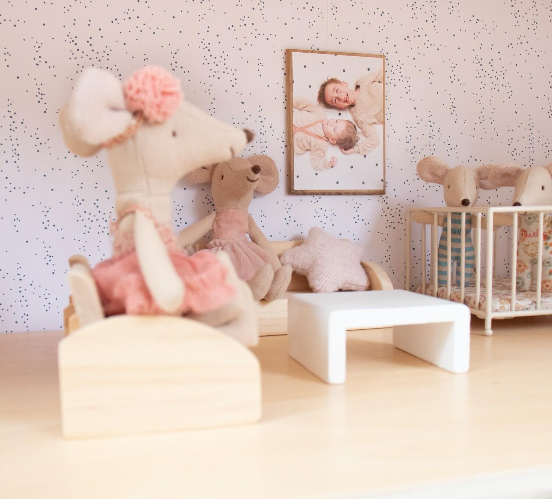 Wallpaper Dollhouse Cute Blue