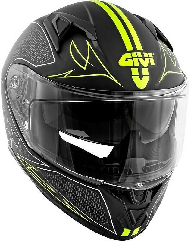Casco Moto Integrale Givi 50.6 STOCCARDA SPLINTER Nero Opaco Giallo TG 60/L