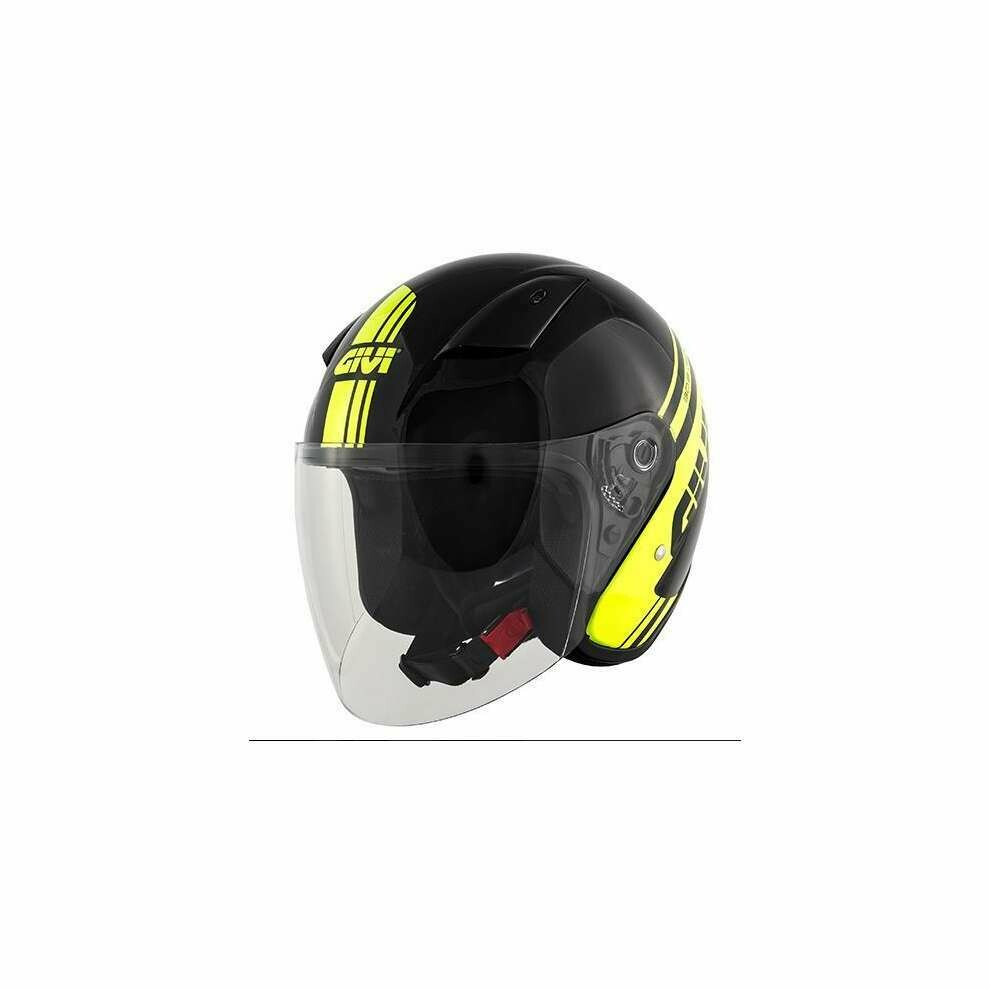 Casco Moto Jet Givi 30.3 Tweet Geneve Nero Giallo Fluo TG.60
