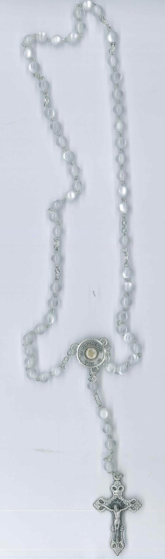 Corona Carlo Acutis imitazione madre perla con reliquia ex indumentis