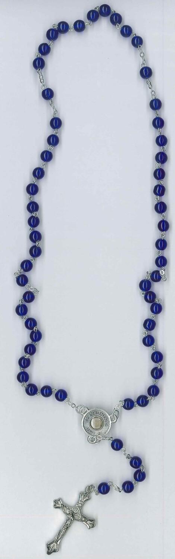 Corona vetro Carlo Acutis con immagine colore blu