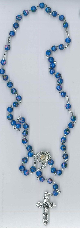 Corona Carlo Acutis con immagine - imitazione marmo blu