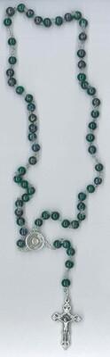 Corona Carlo Acutis con immagine - imitazione marmo verde