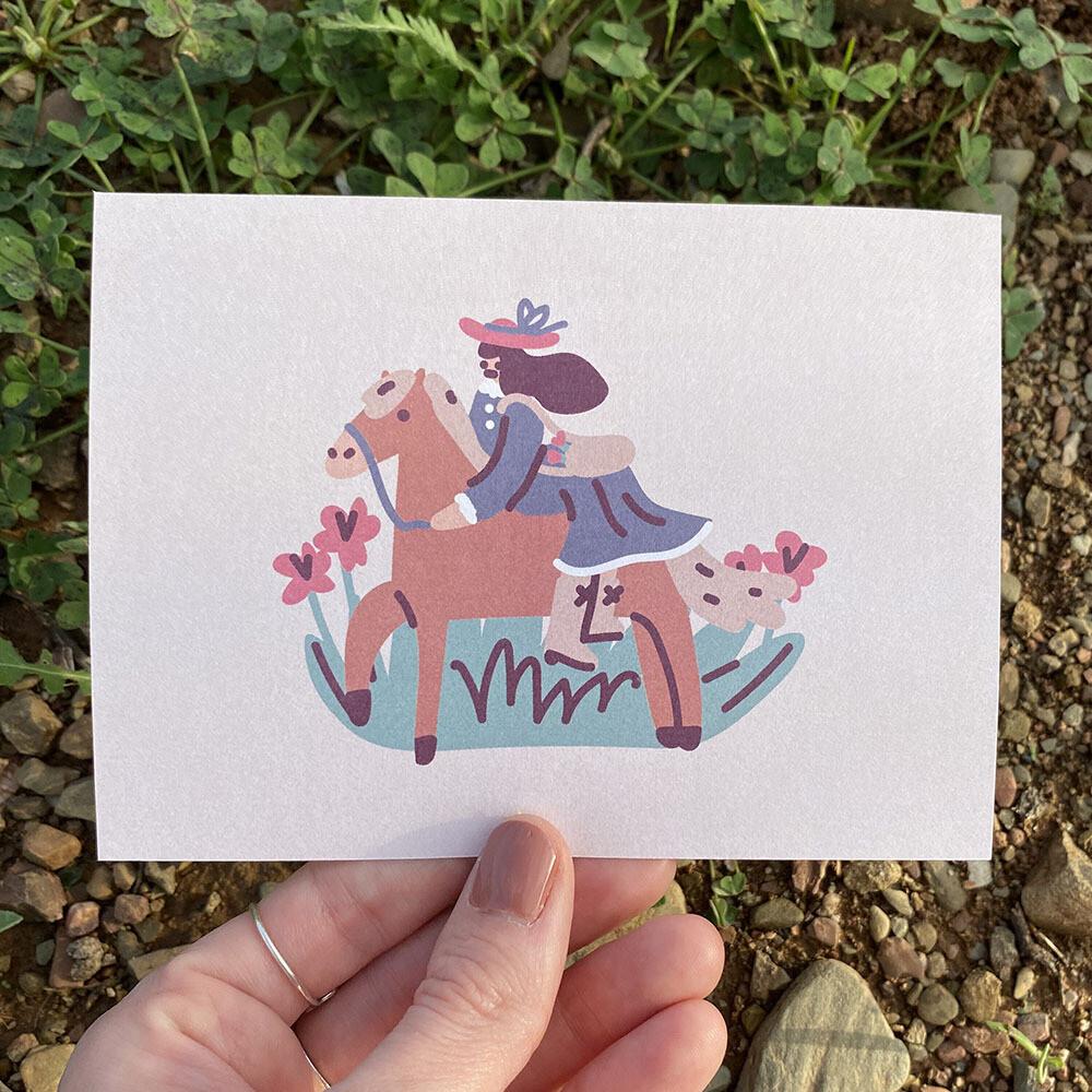 Girl Loves Horses Card