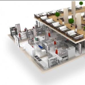 3D визуализация плана расстановки для больших кухонь