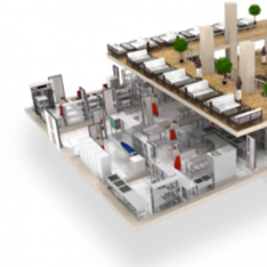 3D визуализация плана расстановки для маленких кухонь