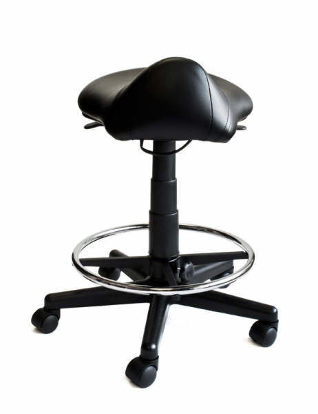 Black Saddle Stool with Foot Rest Ring