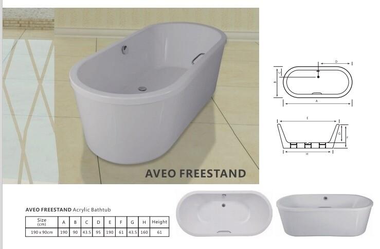 Aveo Freestand Acrylic Bathtub
