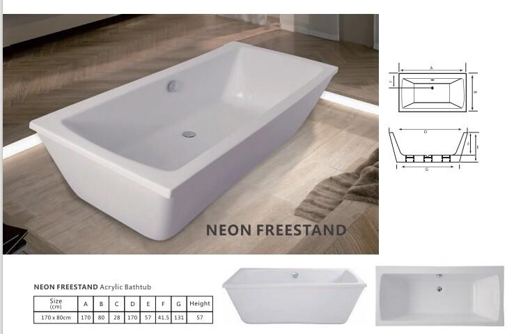 Neon Freestand Acrylic Bathtub