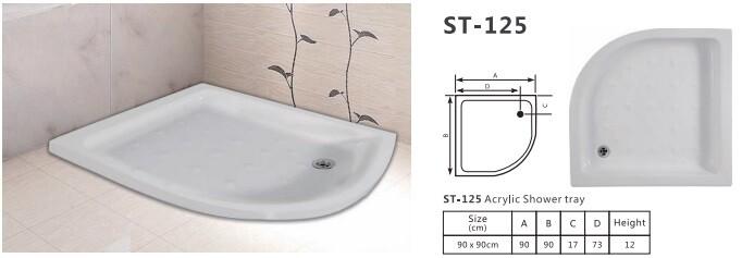 ST - 125 ACRYLIC SHOWER TRAY PANEL