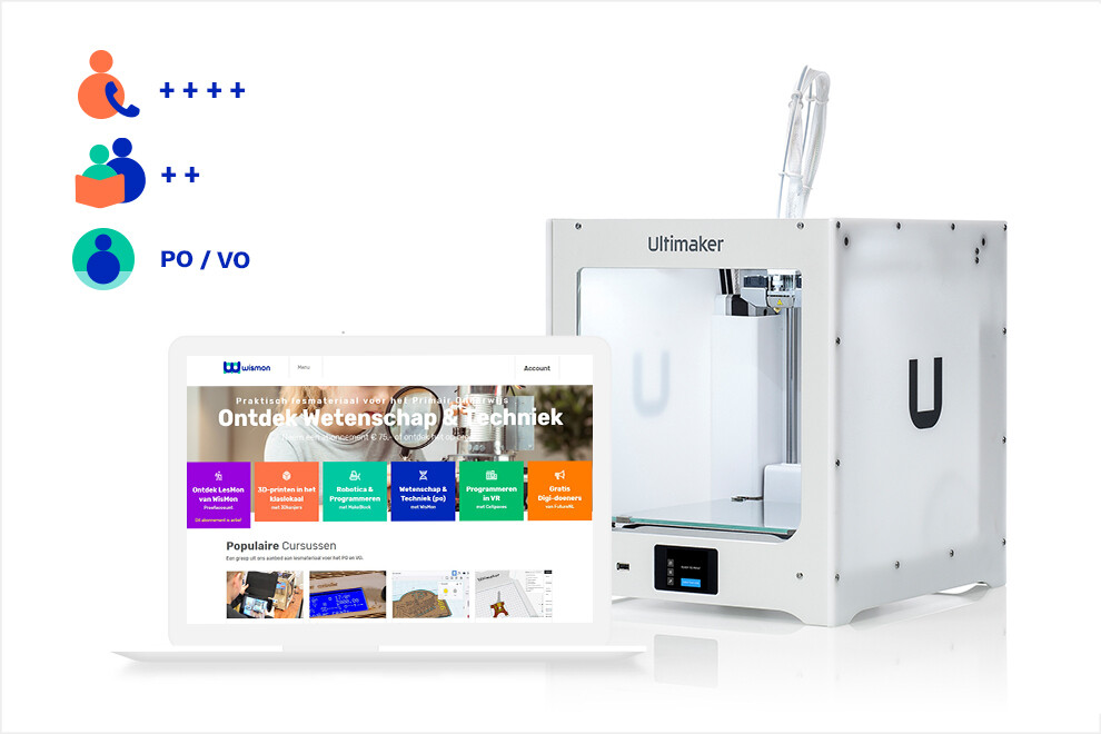 3Dkanjers 3D-Discovery Basic - inclusief Ultimaker 2+ Connect 3D-printer (PO, VO)