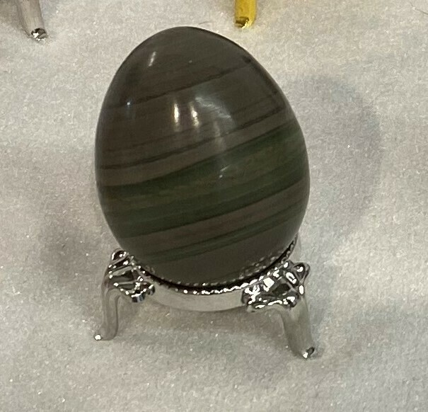 Unique banded green and brown jasper egg