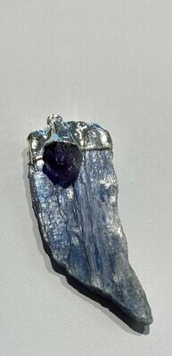 Kyanite and Amethyst crystal pendant
