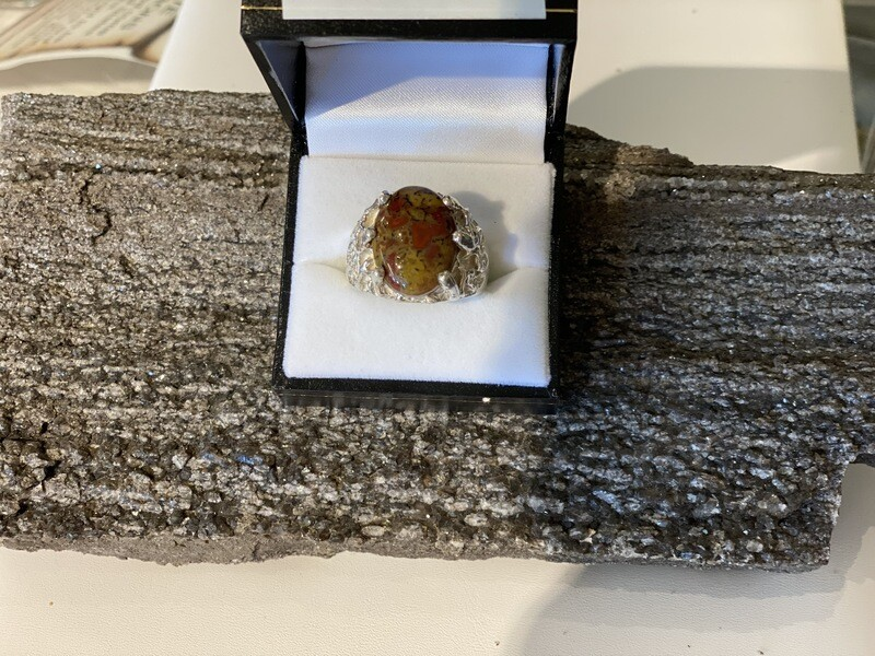 Yellow / red Gem Dinosaur bone ring