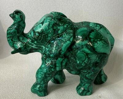 Large Malachite Elephant Carving