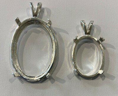 Sterling silver cabochon pendant mount - 9 x 7 mm