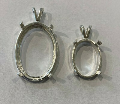sterling silver cab mounting - 30x22