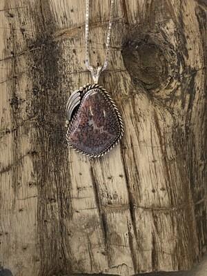 Beautiful Mauve gem bone pendant