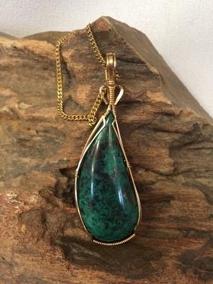 SOLD New chrysocolla/malachite wire wrapped pendant
