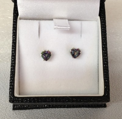 SOLD Mystic topaz heart earrings