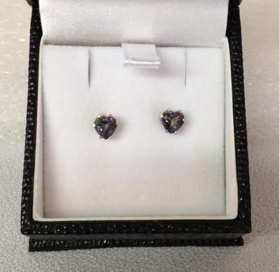 SOLD Mystic topaz heart earrings