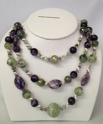 SOLD Beautiful 3 strand necklace of prehnite, amythest, and charoite