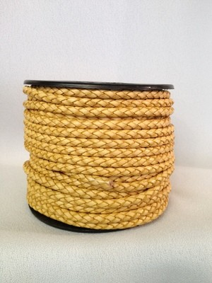 Heavy braided 5 mm leather cord - natural