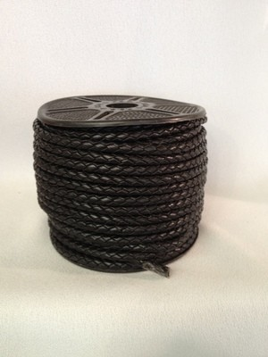 Braided 5mm Leather Cord - Black