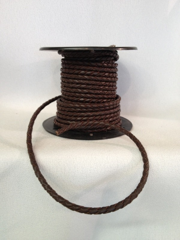 Braided leather 4 mm cord - brown