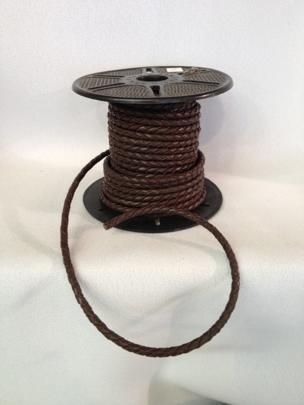 Braided leather cord - brown 3 mm diameter