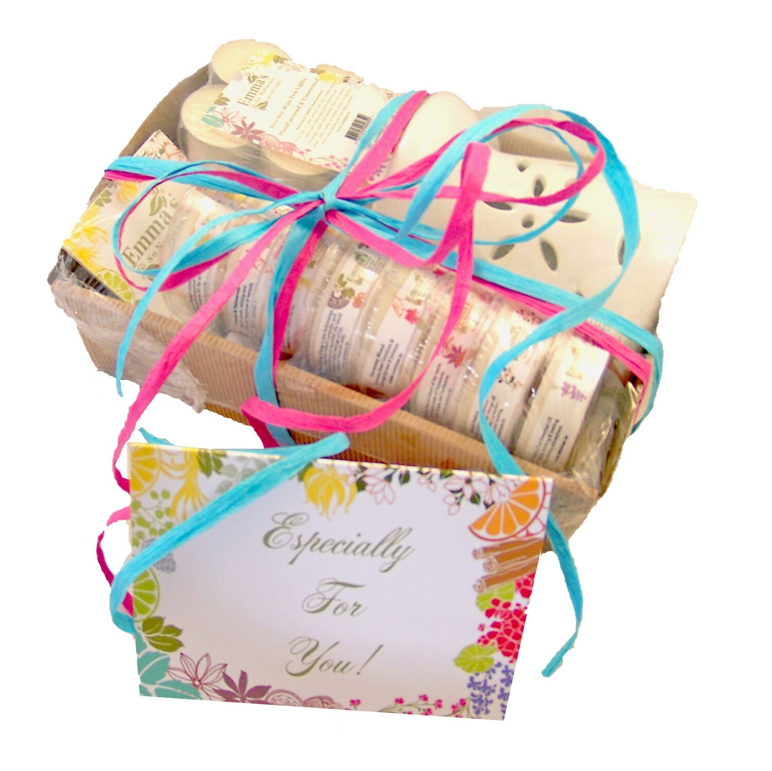 Gift-wrapped hamper - Oil Burner Gift Set (Large Set) - Ceramic Oil Burner, 8 Wax Tart Melts (9 with Pomander option) & 12 x Tealights (Gift wrap & card optional)