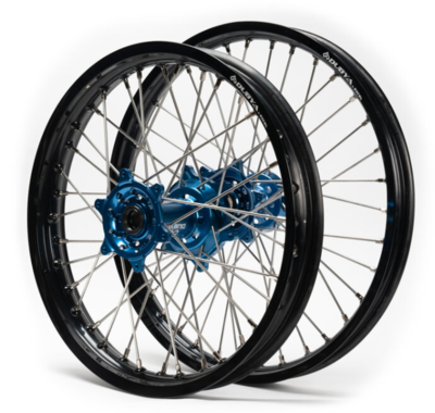YAMAHA WHEEL SETS, 19-21 WR450F, 15-21 YZ250FX/ 16-21 YZ450FX, 21x1.6 / 18x2.15 BLACK/BLUE, CAN ALSO FIT YZ125/250 (00-21)UPON REQUEST