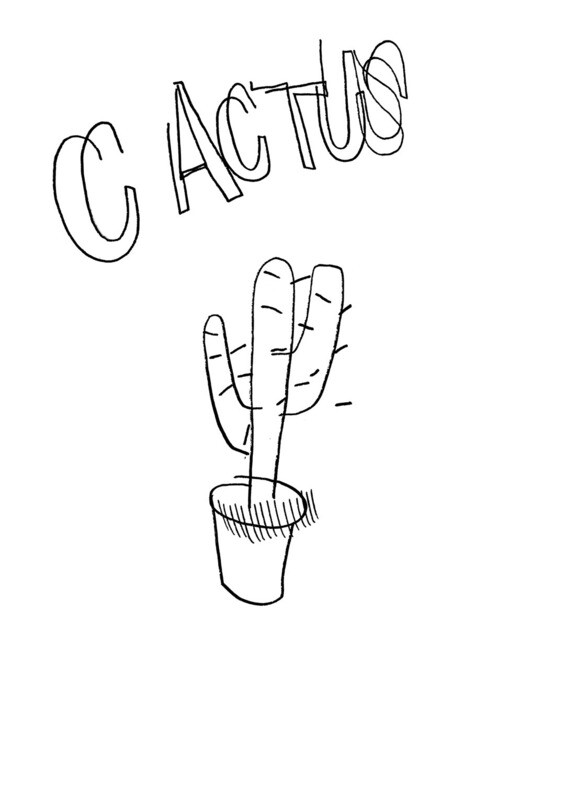 Dessin sans regarder d'un cactus (à rempoter)