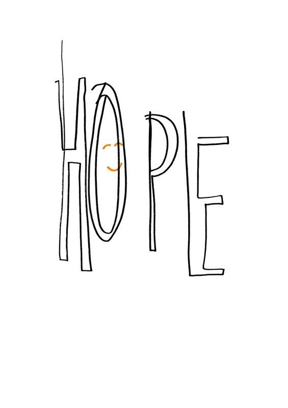 Dessin sans regarder de l'espoir (le seul dessin avec de l'orange fluo, le couleur du sourire)