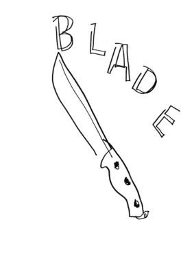 Dessin sans regarder d'un couteau