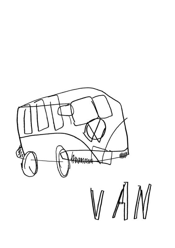 Dessin sans regarder d'un van