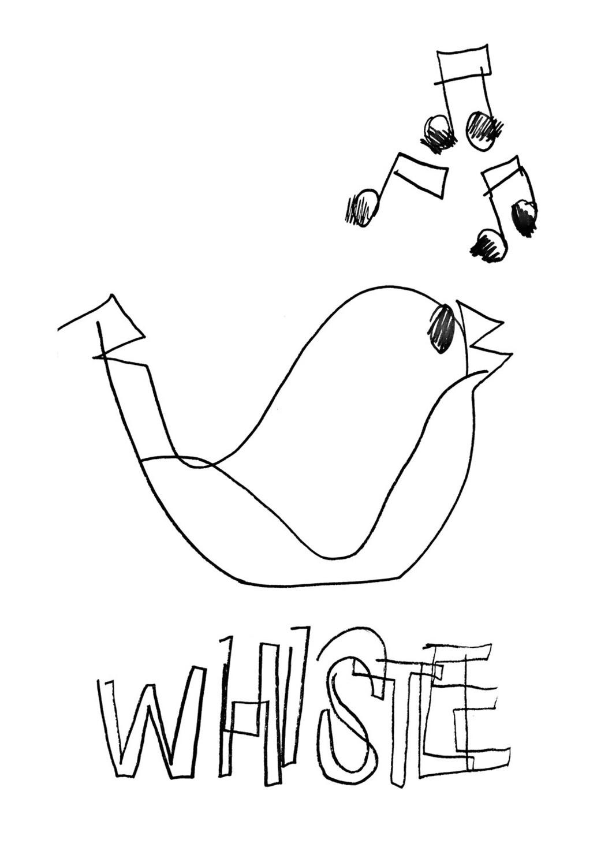 Dessin sans regarder d'un sifflet (en forme d'oiseau)