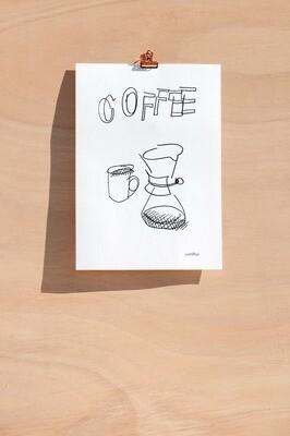 Dessin sans regarder d'une cafetière