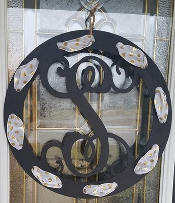 Round Initial with Single Letter and Ribbon