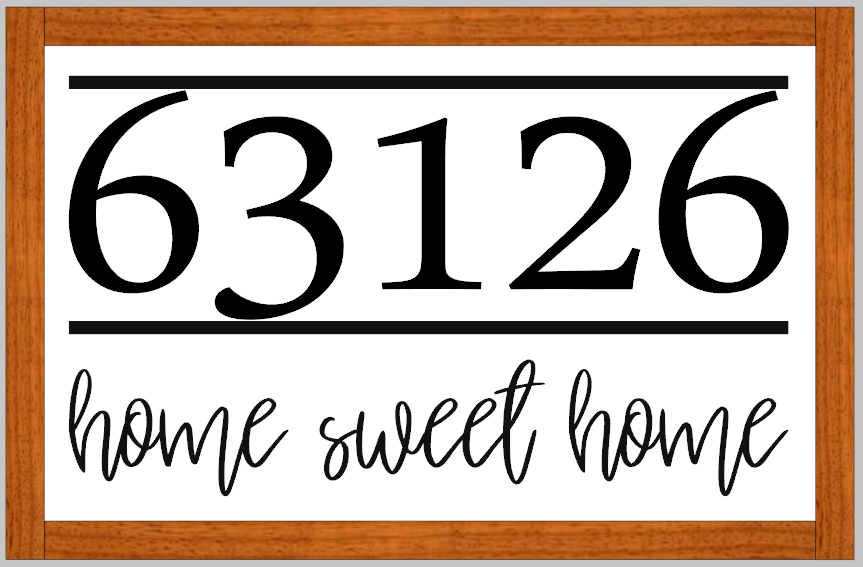 Framed Zip Code home sweet home