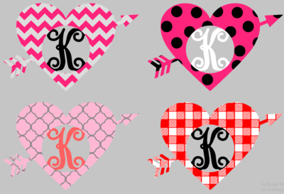 Heart and Arrow with Cutout Letter