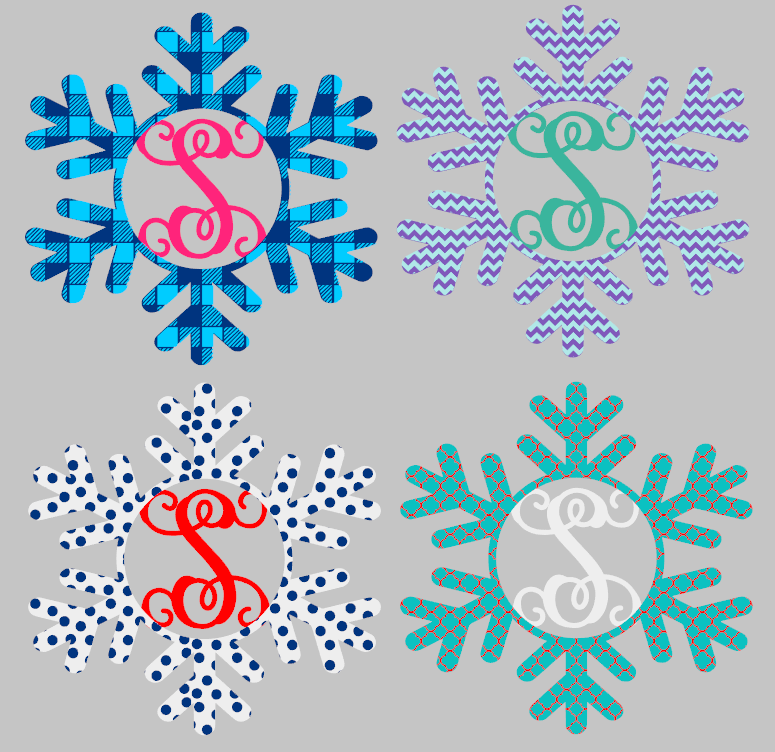 Snowflake with Initial Wood Door Hanger