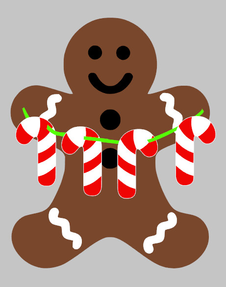 Gingerbread Man with Cutout Candy Canes Garland