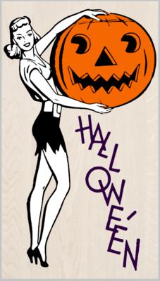 Retro Halloween Girl with Pumpkin