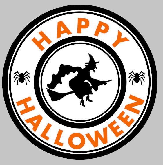 Round Happy Halloween Witch